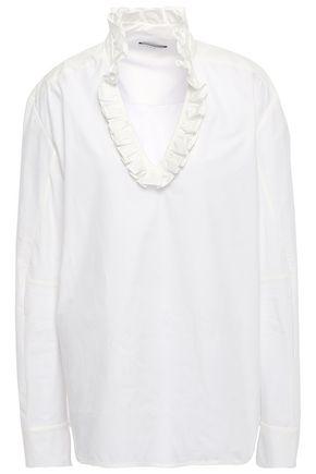 SANDRO Ruffled cotton-poplin blouse