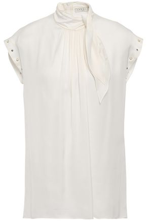SANDRO Tie-neck embellished satin top
