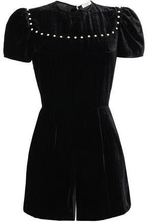 SANDRO Studded velvet playsuit