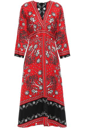 SANDRO Printed silk-twill midi dress