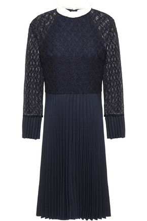 SANDRO Ruffle-trimmed pleated twill and lace dress