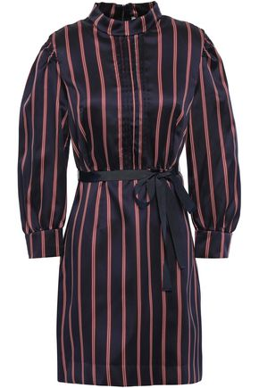 SANDRO Grosgrain-trimmed striped woven mini dress