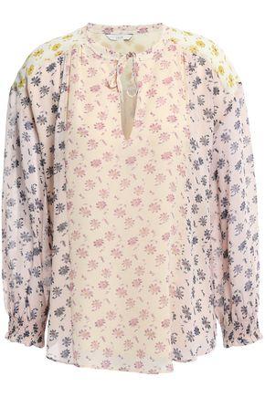 JOIE بلوزة من قماش جورجيت الحريري مطبعة بالورود ومدرزة