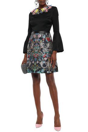 Mary Katrantzou Woman Embellished Satin-Crepe And Brocade Mini Dress Black