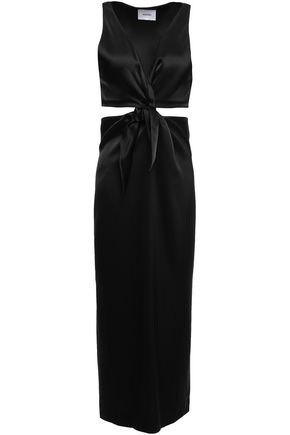 NANUSHKA Regina twist-front cutout satin midi dress