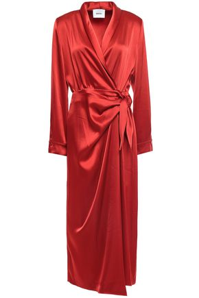 NANUSHKA Ezra satin midi wrap dress
