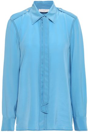 SANDRO Tie-neck silk crepe de chine shirt