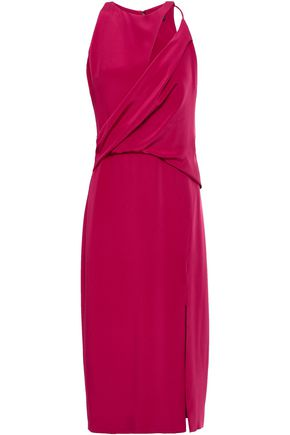 CUSHNIE Cutout asymmetric gathered silk dress