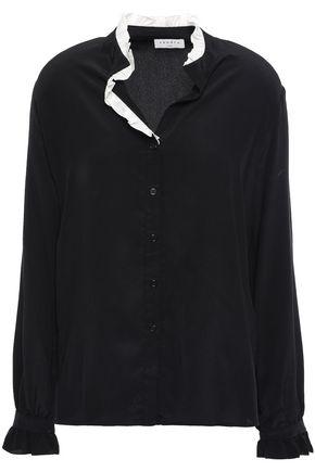 SANDRO Ruffle-trimmed silk crepe de chine shirt