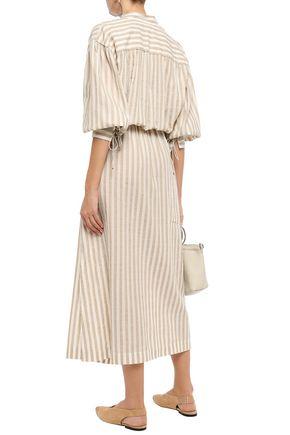 NANUSHKA Tala striped cotton and linen-blend midi dress