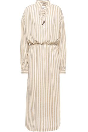 NANUSHKA Tala striped cotton and linen-blend midi dress