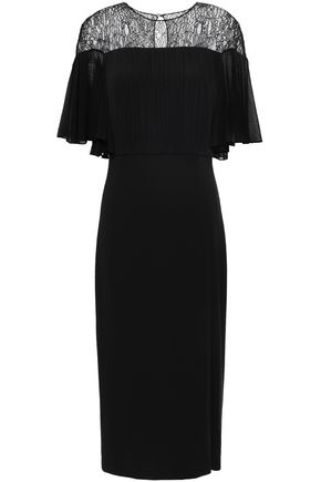 CUSHNIE Draped lace-paneled stretch-crepe dress