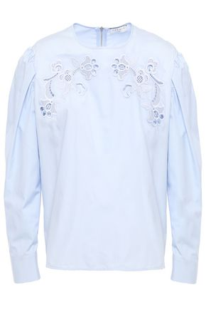 SANDRO Embroidered cotton-poplin blouse