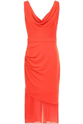 CUSHNIE Chiffon-paneled draped stretch-crepe dress