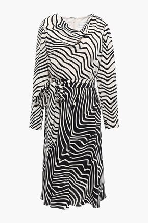 MIKAEL AGHAL Draped printed two-tone cady dress