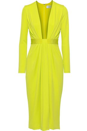 CUSHNIE Draped neon stretch-jersey dress