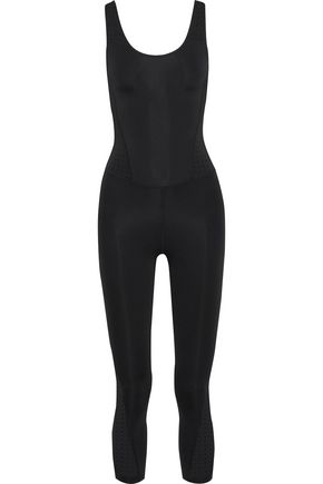 IRIS & INK Cropped perforated stretch jumpsuit