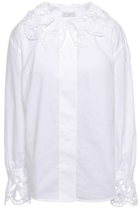 SANDRO Broderie anglaise-trimmed cotton-poplin blouse