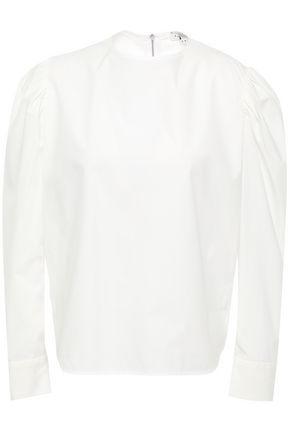 SANDRO Gathered cotton-poplin blouse