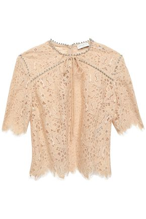 SANDRO Crystal-embellished scalloped lace top
