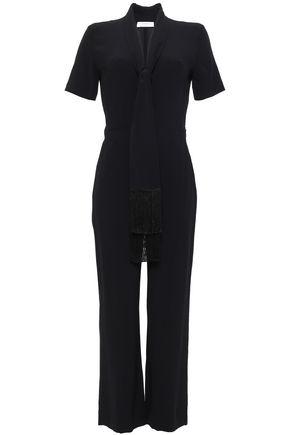 SANDRO Fringe-trimmed satin-crepe jumpsuit