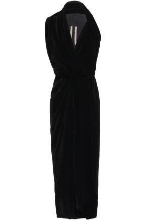 RICK OWENS Limo draped velvet midi wrap dress