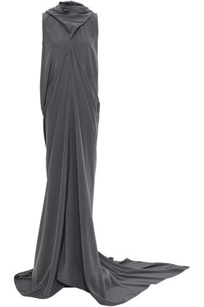 RICK OWENS Draped silk crepe de chine gown