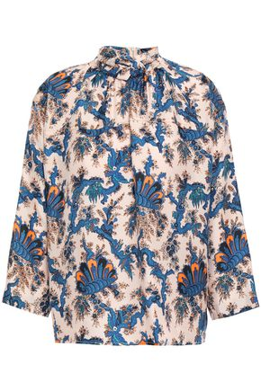 SANDRO Twist-front silk-twill blouse
