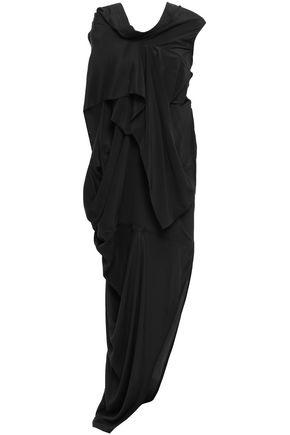 RICK OWENS Egret draped crepe de chine gown