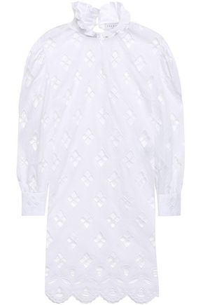SANDRO Ruffle-trimmed broderie anglaise mini dress