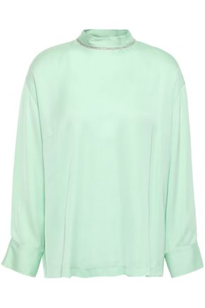 SANDRO Bead and crystal-embellished sateen blouse