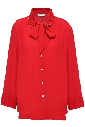 SANDRO Crystal-embellished lace-trimmed crepe blouse