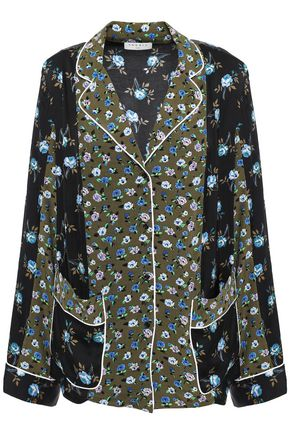 SANDRO Paneled floral-print satin and crepe de chine shirt