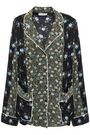SANDRO Paneled floral-print satin and crepe de chine shirt