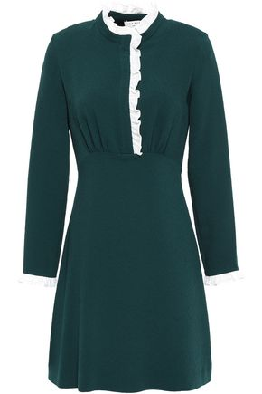 SANDRO Ruffled lace-trimmed crepe mini dress