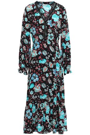SANDRO Embellished printed silk crepe de chine midi dress