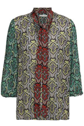 ALICE + OLIVIA Tie-neck printed crepe de chine blouse
