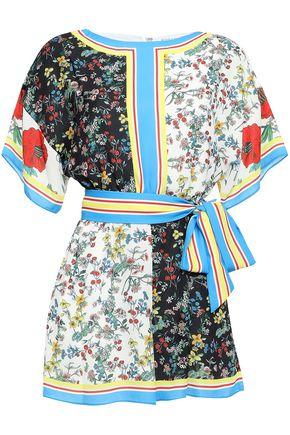 "ALICE + OLIVIA بلاي سوت ""بوي"" من قماش كريب دي شين المطبع برسومات مزوّد بحزام"
