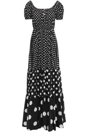 CAROLINE CONSTAS Bardot gathered polka-dot stretch-cotton poplin maxi dress