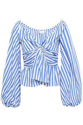 CAROLINE CONSTAS Onira off-the-shoulder twist-front striped cotton-blend poplin top