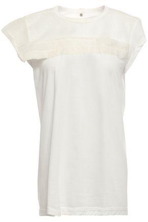 RICK OWENS Cloqué organza-paneled cotton-jersey top