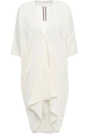 RICK OWENS Oversized draped crinkled crepe blouse