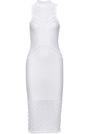 CUSHNIE Pompom-embellished pointelle-knit dress