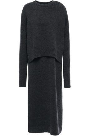 JOSEPH فستان متوسط الطول من الكشمير المضلع مع أجزاء مقصوصة