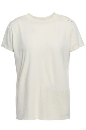 RICK OWENS Rivet studded and coated cotton-jersey T-shirt