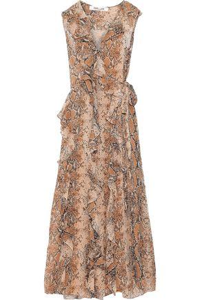 DIANE VON FURSTENBERG Lacey ruffled floral-print silk-georgette maxi wrap dress