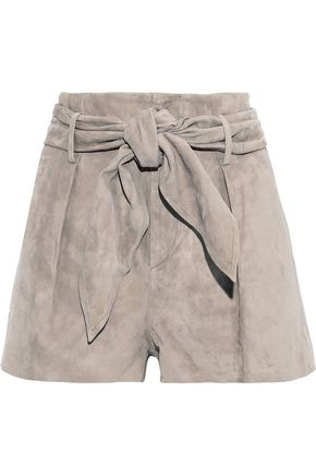 IRO Bramas belted pleated suede shorts