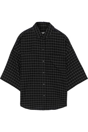 IRO オーバーサイズ チェック コットン シャツ