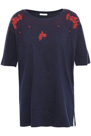 SANDRO Embellished cotton-jersey T-shirt