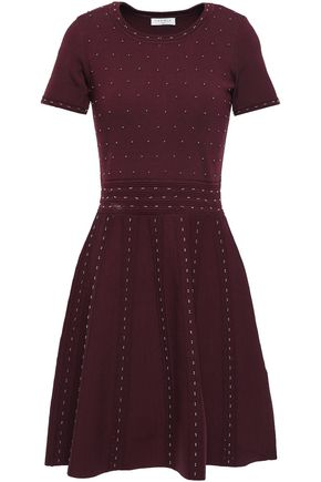 SANDRO Beaded stretch-ponte mini dress